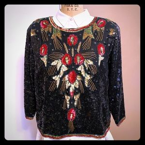 Vintage Joseph Le Bon silk and sequins pull-over